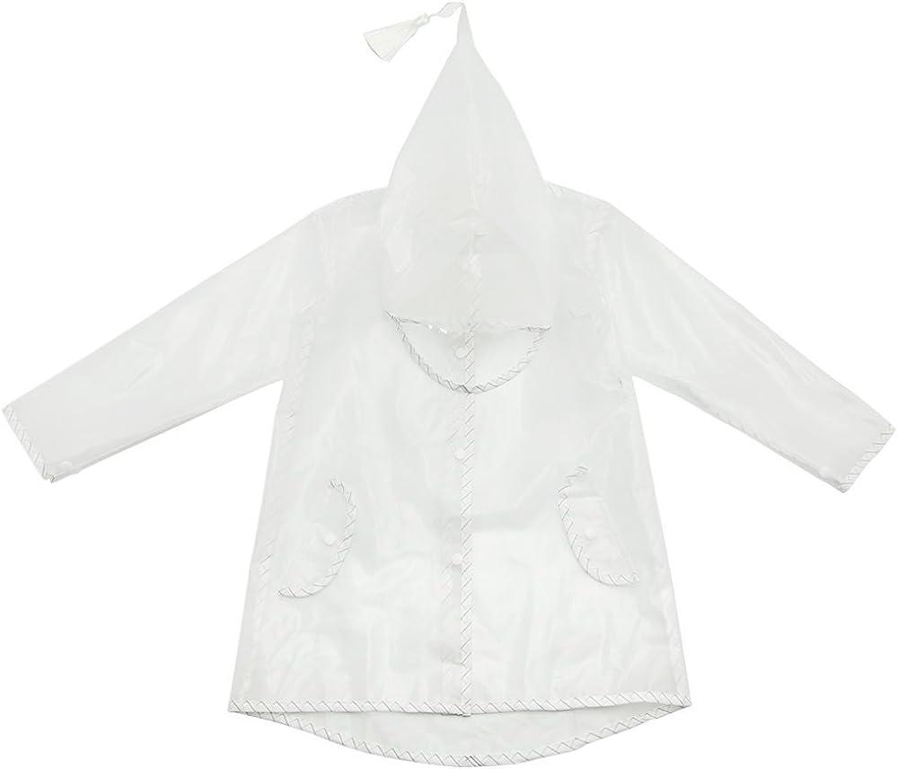 EsTong Kids Raincoat Jacket Translucent Hoodie Poncho for Boys Girls Portable Rain Wear