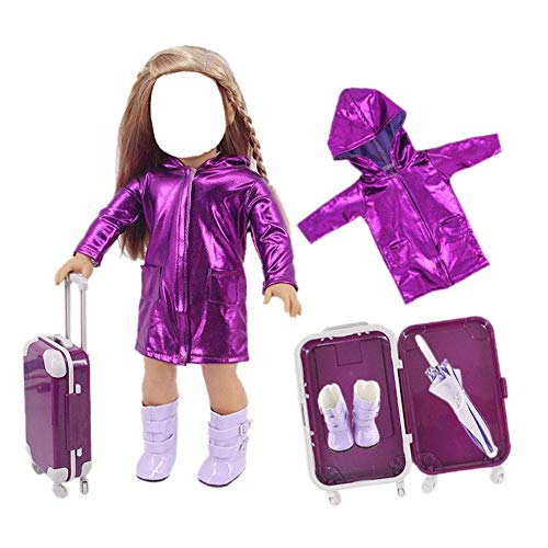 43cm Ropa muñeca Juego Viaje Impermeable/Paraguas/Botas Lluvia/Maleta para muñecas 18 Pulgadas