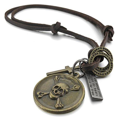 MunkiMix Metalllegierung Echtleder Anhänger Halskette Silber Golden Zwei Ton Braun Kruzifix Piraten Totenkopf Einstellbar Herren