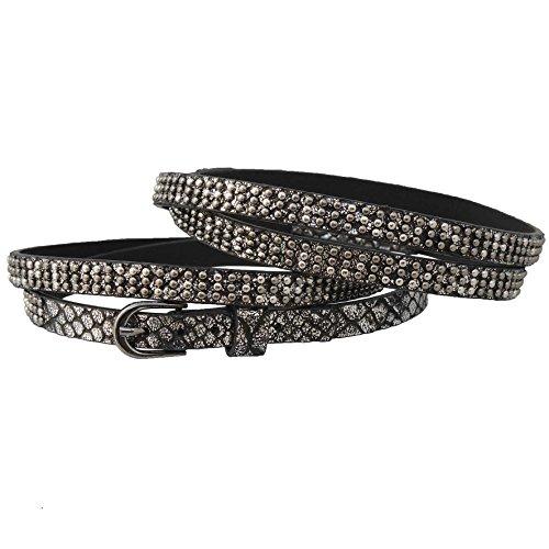 GlamIt Fashion 1 Paar (2 Stück) Stiefelbänder zum Wickeln in Reptiloptik mit Metallic-Finish und 3 Reihen Mini-Nieten – in 4 Farben erhältlich (schwarz-silber)