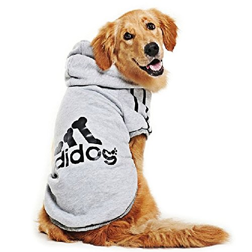 DULEE adidog Hund Warme Hoodies Mantel Jumpsuit Haustier Kleidung Jacke Pullover Baumwolle Pullover Outwear Grau 5XL