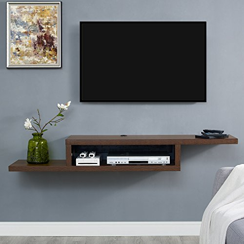 Martin Furniture Asymmetrical Floating Wall Mounted TV Console, Columbian Walnut -60inch