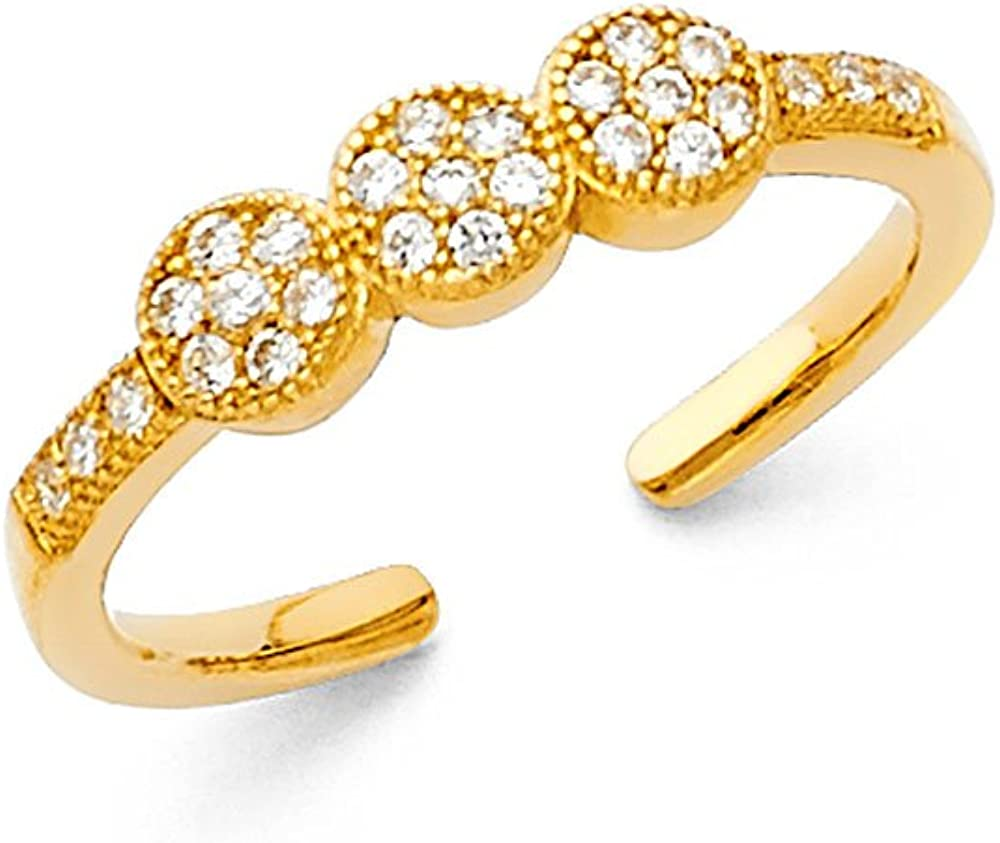 FB Jewels 14K Yellow Gold Cubic Zirconia CZ Toe Ring One Size Fits All Adjustable