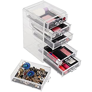 Kurtzy 6 Tier Clear Acrylic Makeup Organiser - Jewellery Organizer with 6 Removable Drawers - Makeup Display Box for Cosmetic Storage & more