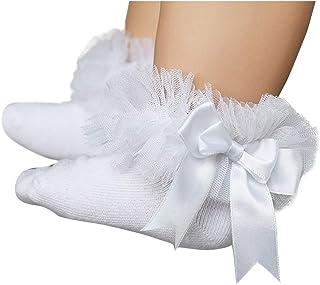 3 pares de calcetines para bebe niñas tobilleros antideslizantes de princesa calcetines bebe recien nacido encaje algodón lazo calcetines bautizo bebe niña de vestir