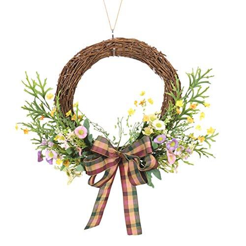Guirlanda de mola para porta da frente de 45 cm, coroa de chifres de girassol, janela de parede para festa de casamento, guirlanda de decoração de casa de fazenda