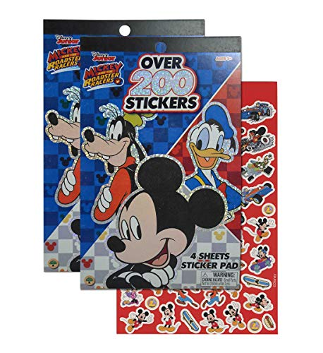 Disney Junior Mickey Mouse and Roadster Racers 4 Sheet Holographic Foil Stickers Book Pads, Each Pad Includes Collection of 200+ Bulk Stickers, for Motivation Party Invitations Activities (2pc Set)