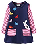 Fiream Toddler Girls Cotton Longsleeve Casual Dresses Applique Cartoon(JP035,3-4Y)
