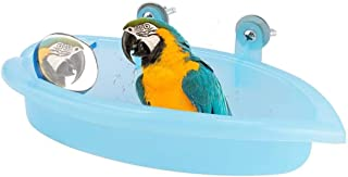 Meterk Bird Bath with Mirror Toy Parrot Bathtub Bath Box Bowl Cute Pet Bird Bathing Box Bird Shower Bathtub Accessories Bi...