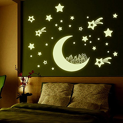 domax 3D Glow in The Dark Stars Moon Stickers, Set of 3 DIY Wall Stickers for Girls and Boys, Beautiful Wall Decals