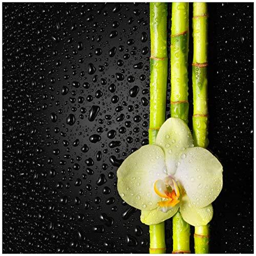 Wallario Acrylglasbild Grüne Orchidee mit Bambus auf schwarz - Regentropfen - 50 x 50 cm in Premium-Qualität: Brillante Farben, freischwebende Optik