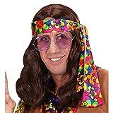 WIDMANN 6497r peluca hippie, hombre, marrón, One size , color/modelo surtido