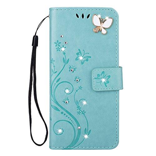 Homikon PU Leder Hülle Retro Schön Schmetterling Blume Schutzhülle für Mädchen Brieftasche Ledertasche Bling Glänzend Glitzer Diamant Handyhülle Etui Kompatibel mit Huawei P30 Lite - Grün