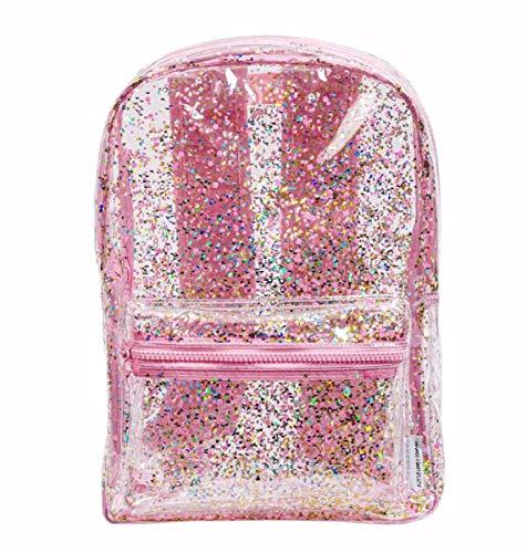 A Little Lovely Company, rugzak, glitter, transparant, roze, 24 x 34,5 x 11 cm