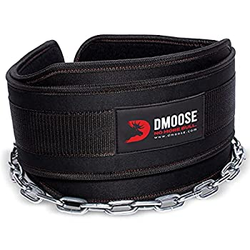 DMoose Fitness Dip Belt with Chain for Weightlifting Pullups Powerlifting and Bodybuilding Workouts Long Heavy Duty Steel Comfortable Neoprene Waist Support  Black