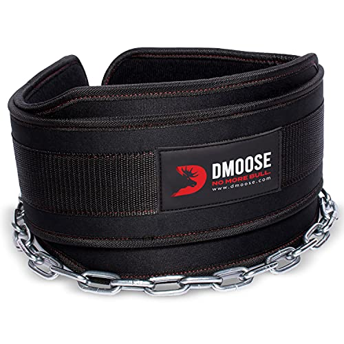 DMoose Fitness Dip Belt with Chain for Weightlifting, Pullups, Powerlifting, and Bodybuilding Workouts, Long Heavy Duty Steel, Comfortable Neoprene Waist Support (Black)