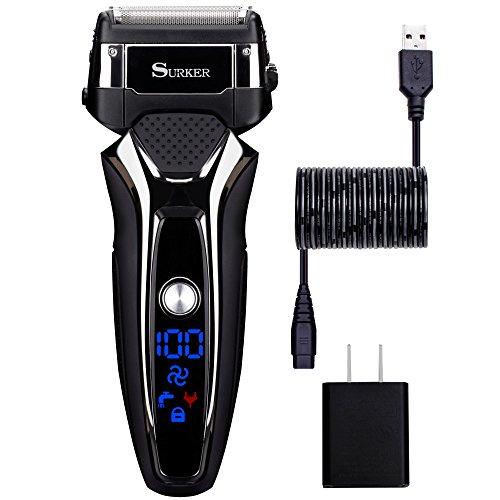 Elektrorasierer Surker 9008 Elektrische Rasierer für Männer Herren Nass & Trocken Rasierer,USB-Lade,Lithium-Batterie