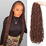 24 Inch 6 Packs New Faux Locs Hair Pre-Looped Synthetic Goddess Locs Braiding Hair Extensions for Women 21 Strands Knotless Style Natural Wavy Crochet Hair (24 Inch, 30#)