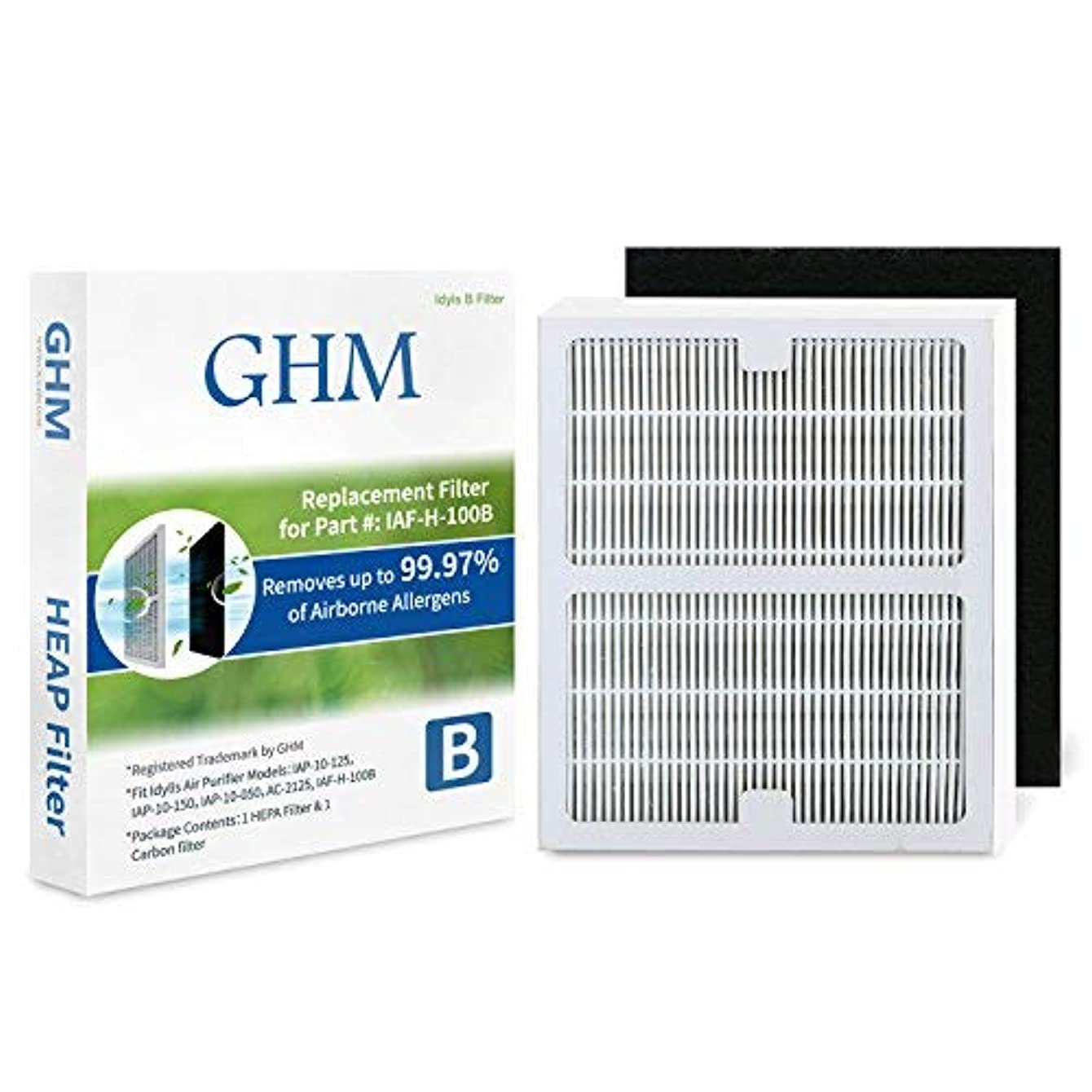 GHM Part # IAF-H-100B Air Purifier Filters for Idylis Air Purifier AC-2126, AC-2125, IAP-10-125 and IAP-10-150 Models
