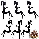 Décor de gâteau d'anniversaire de dame Fille Acrylique Gâteau Topper Cupcake Topper en acrylique Cake Topper Silhouette en Acrylique Anniversaire Dessert Cupcake Topper Party Supplies 6 morceaux