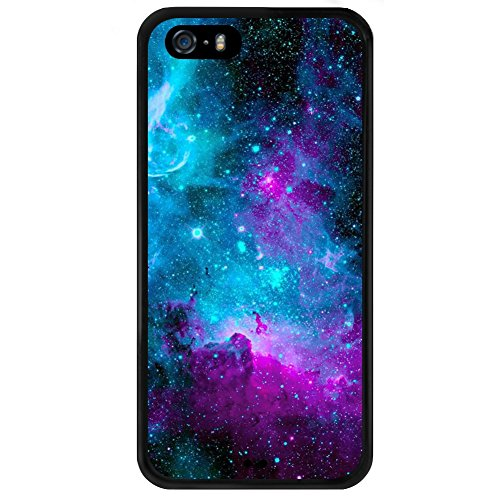 Nebula Art iPhone 5s 5 SE Case, PC and TPU Shockproof Slim Anti-Scratch Protective Kit with Heavy Duty Dual Layer Rugged Case Non-Slip Grip Cover for iPhone 5s 5 SE,Black
