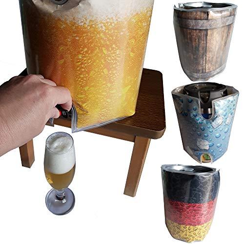 BierEx Fasskühler 5 Liter Kühlmanschette 5 Liter fass Fässer Bierfasskühler Partyfass Kühler Dose Bier 5 L Bierfass (Bieroptik)