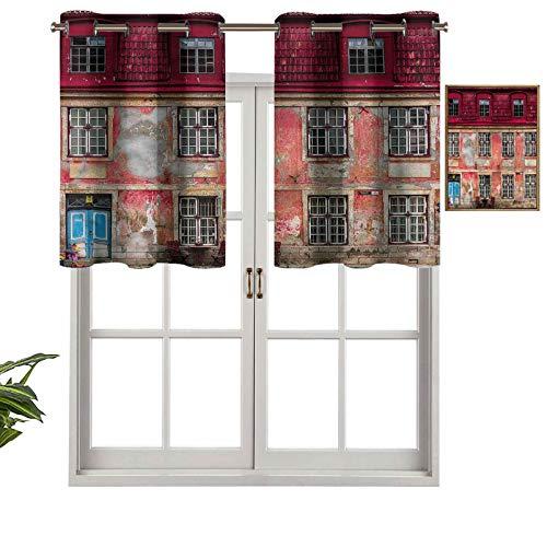 Hiiiman Cortina de tratamiento de ventana con ojales en la parte superior de la ciudad vieja de Tallin, Estonia, juego de 1, 91,4 x 45,7 cm, paneles opacos decorativos para el hogar para cocina