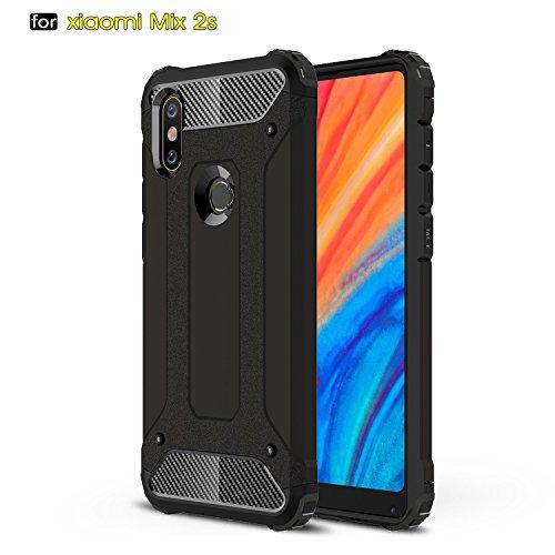 xinyunew Xiaomi Mi Mix 2S Funda, 360 Grados Protección +Vidrio Templado Protector Pantalla Silicona Caso Cover Case Carcasas TPU + plastico Anti Arañazos de Protectora - Negro