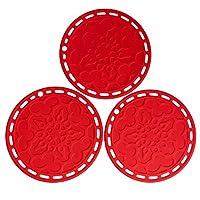 sottopentola in silicone multiuso da 7,87, supporto rotondo per pentole resistenti al calore, antiscivolo, flessibile, durevole, per piatti, banconi, tavoli, set di 3 (rosso)