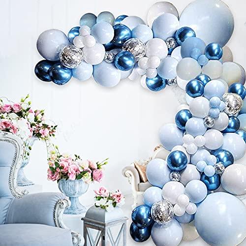 GRESAHOM Macaron Blau Luftballon Girlande Bogen Kit, 109 Stück Blau Weiß Silber Latex Ballons Silber Konfetti Ballons Bogen Set, Benutzt für Jungen Mädchen Geburtstag Party Hochzeit Dekoration