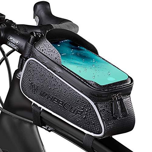 MECHHRE Fahrrad Rahmentasche Wasserdicht-Touchscreen von 6 Zoll ,Fahrradtasche mit großer Kapazität Fahrrad Rahmentasche Innerhalb mit Kopfhörerloch Mit Sonnenblende