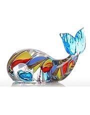 مينستياي الملونة الحوت هدية الزجاج زخرفة الحيوان تمثال يدوي ديكور المنزل متعدد الألوان