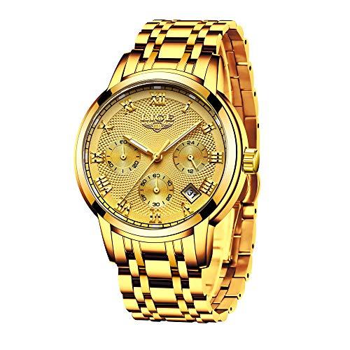 Relojes de Hombre, Reloj de Cuarzo analógico de Negocios único para Hombres Cronógrafo de Acero Inoxidable Relojes (Dorado Blanco)