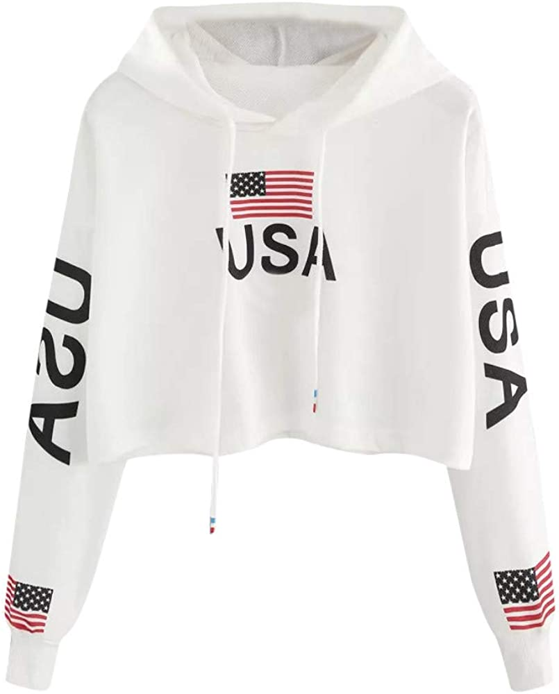 Zulmaliu girls American,crop Top,hooded