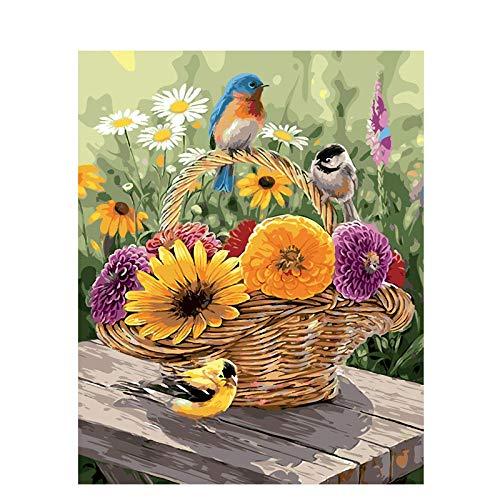 Pintura al óleo para adulto - Canasta de flores y pájaro DIY Pintura por números Adecuado para niños y principiantes, pinturas y pinceles fara dibujar - 40x50 cm (Sin Marco)