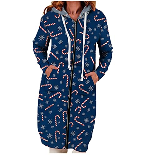 Women Vintage Christmas Printed Fleece Hooded Casual Ladies Sweatshirts Zipper Long Sleeve Thick Coat
