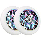 VOKUL 2pcs 110mm Replacement Pro Scooter Wheels with ABEC-9 Bearing, Complete 2pcs-Colorful White