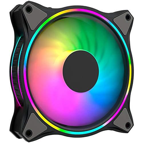 VIVITG Ventilador de Caja, 140 mm RGB Vistoso Alto Rendimiento Ruido Bajo Enfriamiento Ventiladores de PC con Teniendo Hidráulico, por Caja de PC Aficionados, (3 Paquetes)
