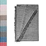 Colcha Multiusos: Plaid Sofa, Manta Foulard, Cubre Cama, Foulard para Sofas de Algodón y Otras Fibras Acabado de Calidad Fabricado en España. (Gris Oscuro JASP. 06, 180x260cm.)