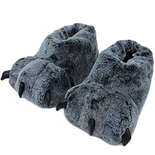 ZLULU Chaussons Pantoufles Patte Pantoufles Animal Pantoufles Femmes Hiver Monstre Griffe Maison Pantoufle Hommes Doux Chaussures De Sol Intérieur, 9