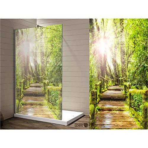 Interfoil Sichtschutz für die Duschabtrennung, Sichtschutz Dusche, hochwertiger Druck auf Glasdekor -Folie in Sandstrahl -Optik mit satinierten Oberfläche