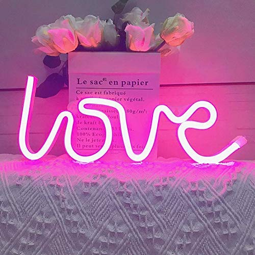 Diwali Decorations Items for Home and Wall Decor Warm White Love Neon Signs Light LED Neon Art Decorative Lights for Diwali Gift, Bedroom, House, Bar, Pub, Hotel, Beach Decorations (Multi)