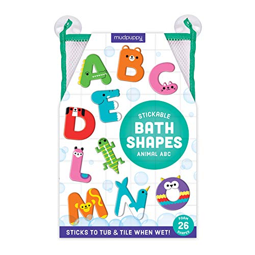 Mudpuppy Animal ABC Stickable Foam Shapes, 26 Foam Alphabet Letters with Mesh Storage Bag – Fun Bath Toys for Toddlers – Learning Activity for Ages 2+