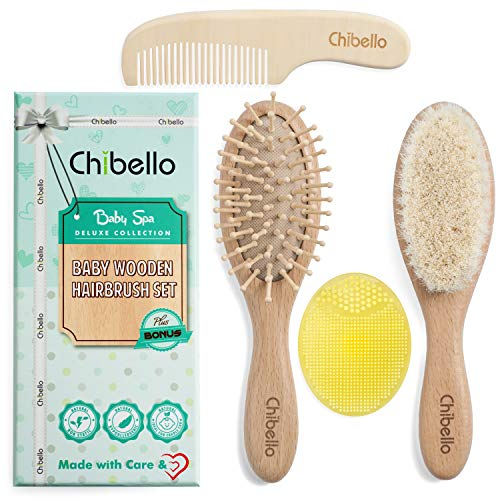 Chibello 4 Piece Wooden Baby Hair Brush and Comb Set Natural...