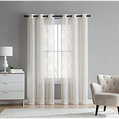 2 Pack: VCNY Home Charlotte Embroidered Quatrefoil Trellis Semi Sheer Curtain Panels - Assorted Colors & Sizes (84 in. Length, Beige)