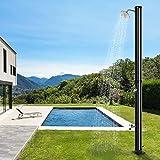 YJIIJY Ducha Solar de 20 litros Ducha Piscina Jardin Exterior con Cabeza de Ducha y Grifo, Ducha de Terraza hasta 60° C (Negro)
