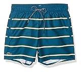 Lacoste Men's Striped Elastic Waist Swim Trucks, Legion Blue/Greenwhite, L