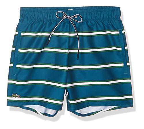Lacoste Men's Striped Elastic Waist Swim Trucks, Legion Blue/Greenwhite, S