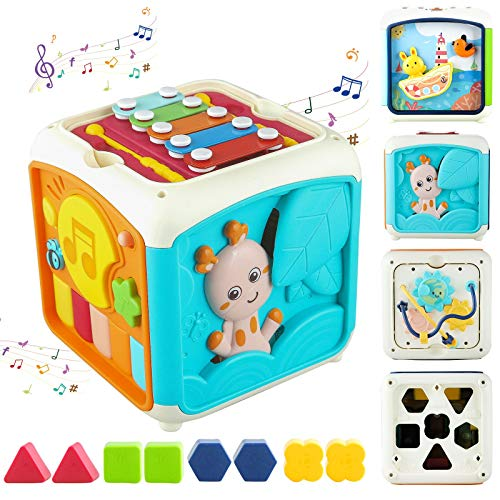 Tikooere Activity Cube Toy for Baby,7 in 1 Multi-Function Play Cube with Music Keyboard,Drum and Xylophone,Educational Musical Toy Gifts for Toddlers Kids Boys Girls 1 2 3 4 5 6 Years Old(Blue)