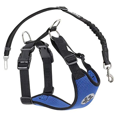SlowTon Dog Car Harness Plus Connector Strap, Multifunction Adjustable Vest Harness Double Breathable Mesh Fabric with Car Vehicle Safety Seat Belt (Large, Dark Blue)
